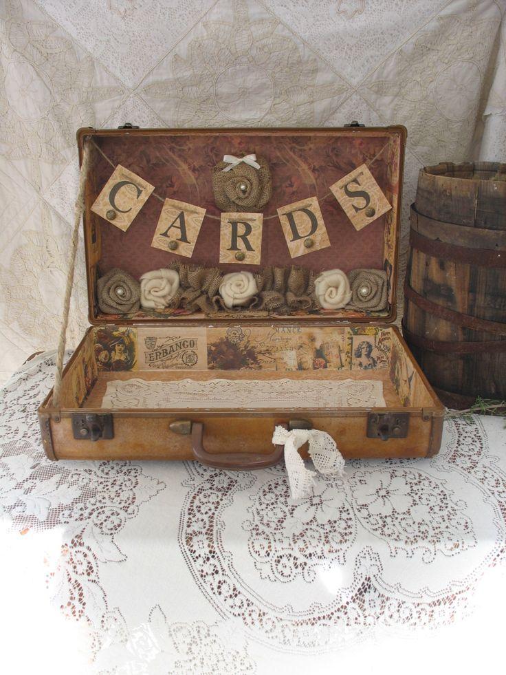 vintage suitcase wedding card holder shabby chic wedding