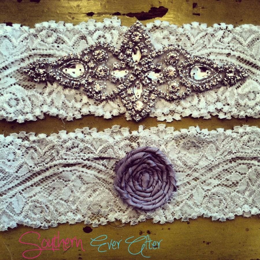 زفاف - Rhinestone Wedding garter Vintage inspired / bridal garter/ lace garter / toss garter / Something Blue wedding garter / Shabby Chic