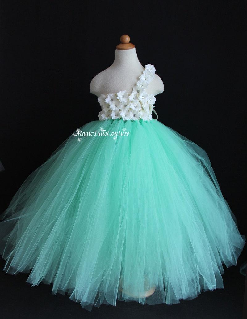 Mint Green Aqua Flower Girl Tutu Dress Wedding Dress Tulle Dress ...