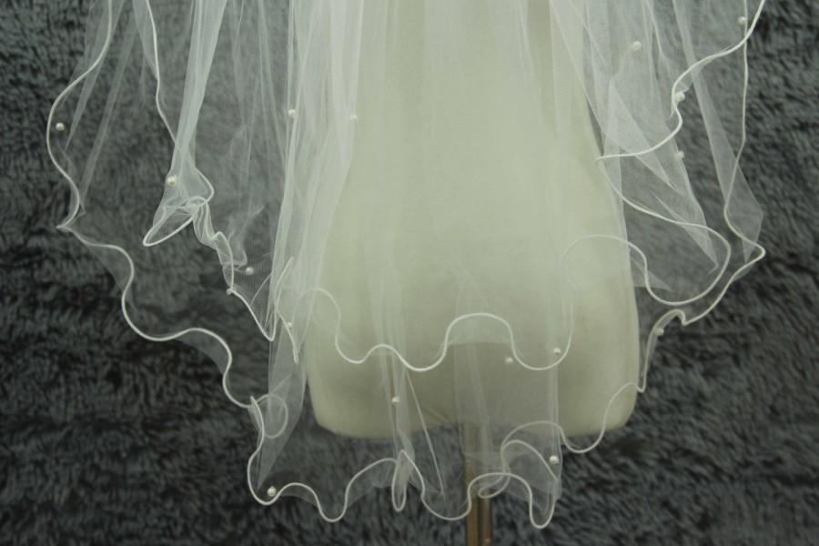 Свадьба - 2T bridal veil, simple bridal veil comb veil, wedding veils, bridal accessories, pearl veil, edge curling veil