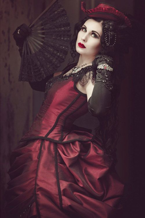 victorian steampunk gothic bustle dress with train vampire ball masquerade alternative halloween wedding gown 19 century period dress