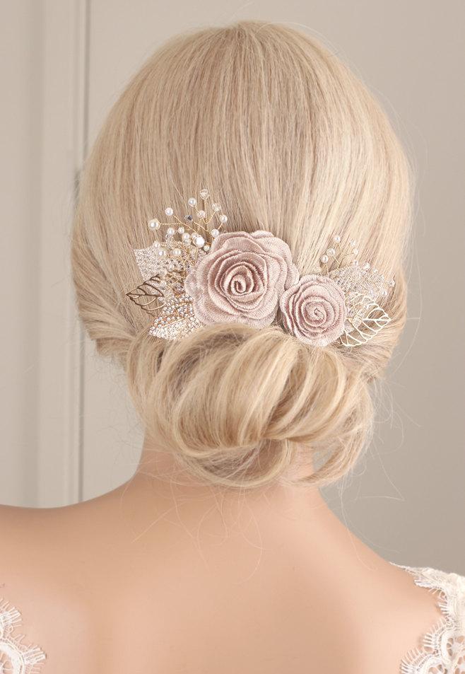 Mariage - flower hair piece, Flower hair clip, wedding hair accessories, wedding headpiece, pearl hair clip, flower headpiece, bridal hair clip