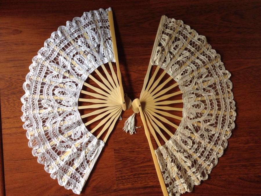 Mariage - Handmade Battenburglace Fans (White&ivory colors)
