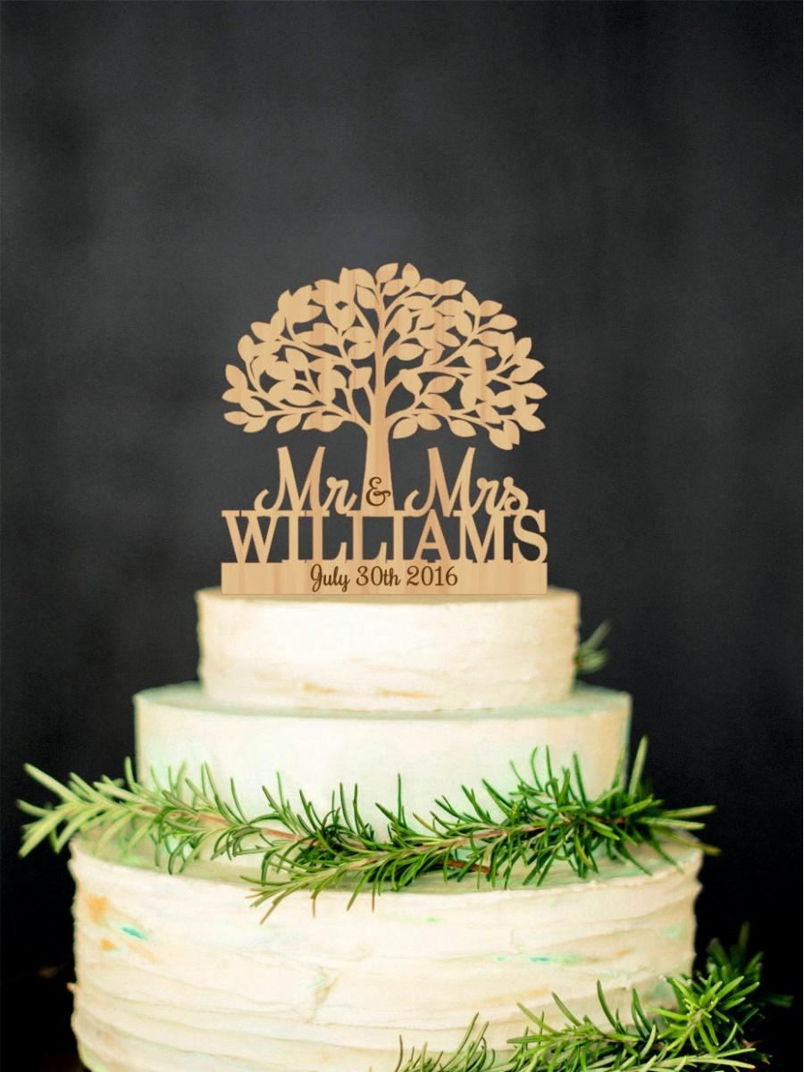 Mariage - Mr Mrs Wedding Cake Topper with Tree Personalized Wood Cake Topper Wooden Rustic Cake Topper Last name topper