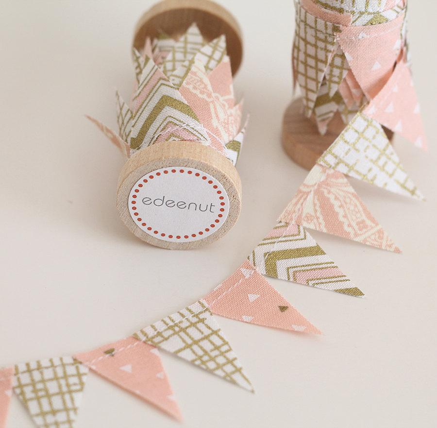 Свадьба - Metallic Rose Pink Gold Cake Bunting. New: Double sided Fabric mini Ribbon Cake topper. Wedding invite announcements, save the date. chevron