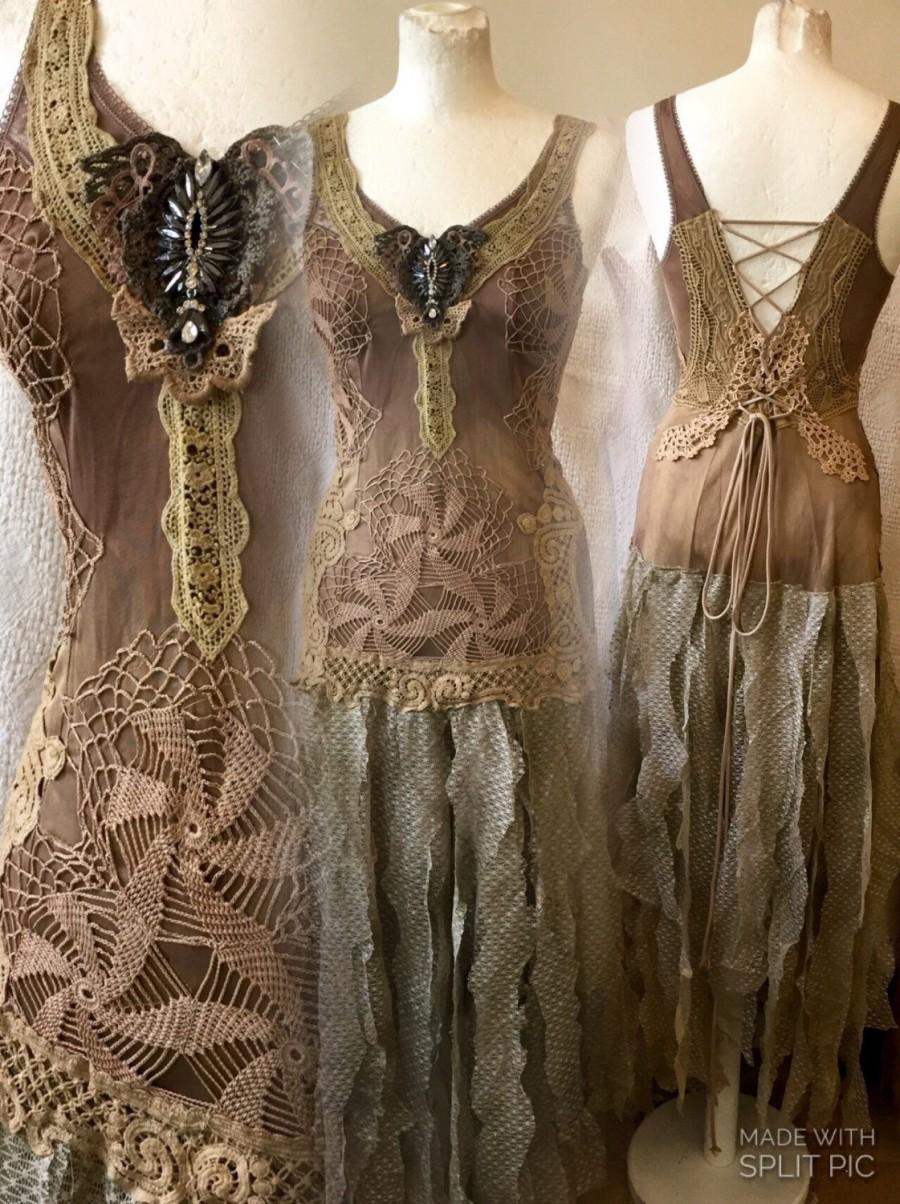 Woodland Fairy Wedding Dress Forest Weddingshabby Chic Eco Friendly Repurposed Clothingfarm