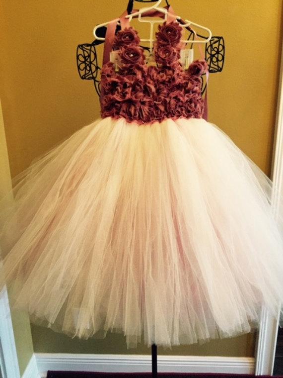 """Wedding - Handmade custom tulle flower girl dress, fully lined bodice, Dusty Rose rosettes, 9m to girls 14 """"The Ellasyn"""" DixieBellesandBeaus"""