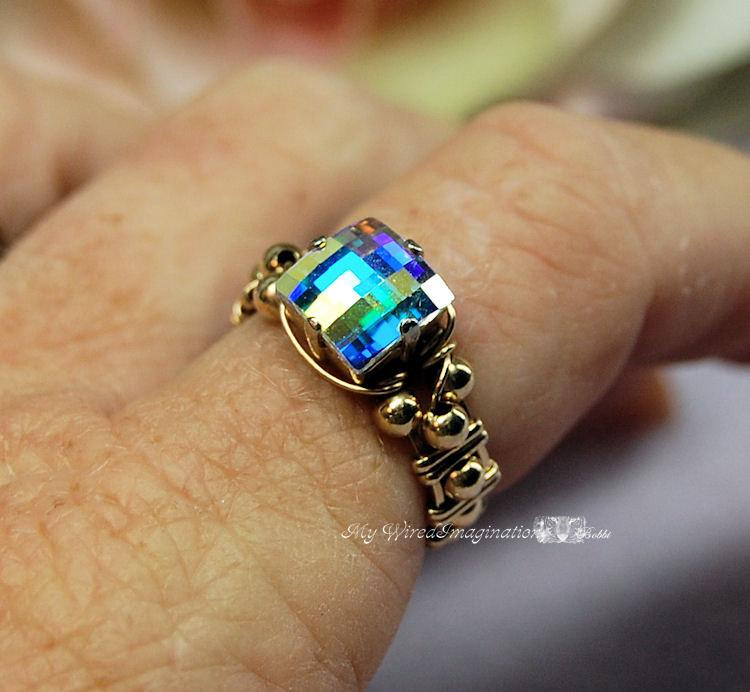 Свадьба - Swarovski Checkerboard Cut Crystal AB Sterling Silver or 14K Gold Filled Hand Crafted Original Design Wire Wrapped Ring Fine Jewelry