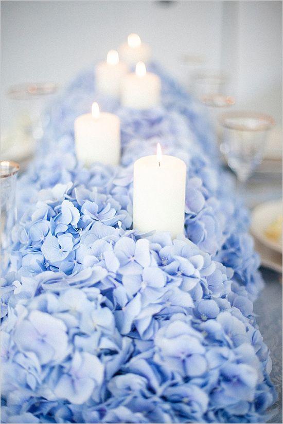 Wedding Theme Blue Hydrangea Table With Candles 2557093 Weddbook