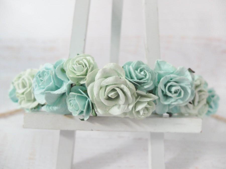 Mariage - Mint flower crown - wedding floral hair wreath - flower headpiece for girls - flower hair accessories