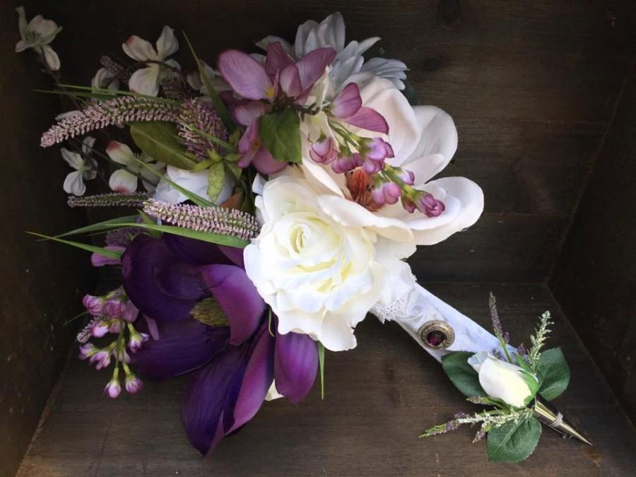 Gorgeous Rustic Silk Purple And White Magnolia Orchid Wedding Bouquet Boutonniere Set