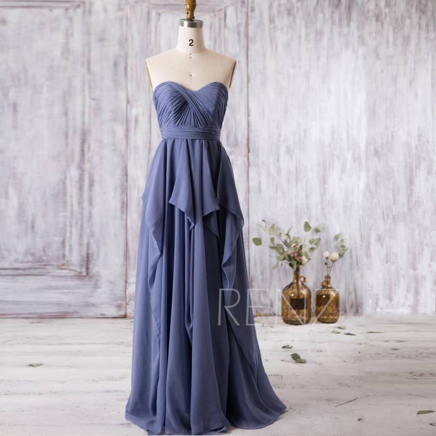 Mariage - 2016 Steel Blue Bridesmaid Dress, Strapless Wedding Dress, Ruffle Chiffon Sweetheart Prom Dress, A Line Formal Dress Floor Length (J037)