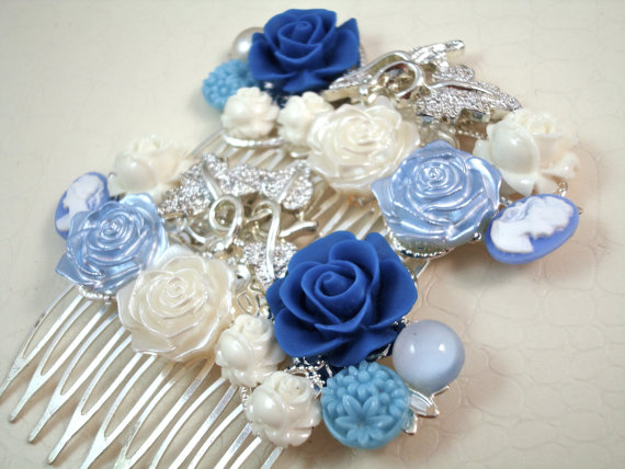 Hochzeit - Vintage White Blue Bridal Hair Combs - Something Old
