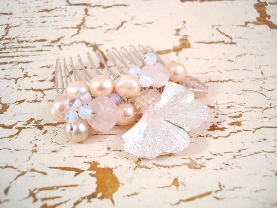 Hochzeit - Ginkgo Modern Pearl Bridal Hair Comb - Longevity - Vintage Hair Accessory