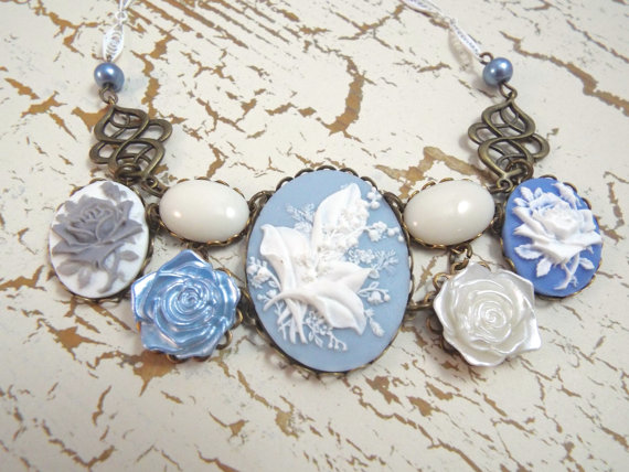 Wedding - Lilly of the Valley Bridal Necklace - Blue & White Cameo Bib - Vintage Bride by SPDJewelry