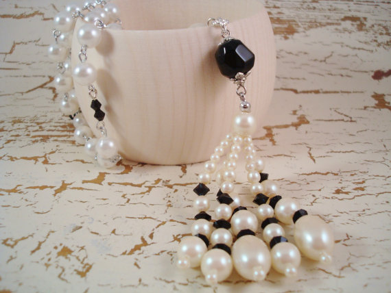 Wedding - Flapper White Black Pearl Tassel Necklace - Downton Jewelry