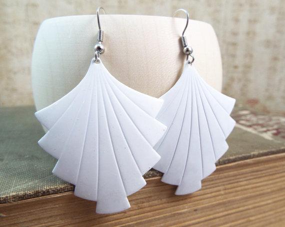 Wedding - White Art Deco Fan Shield Earings - Enamel Geometric Earrings