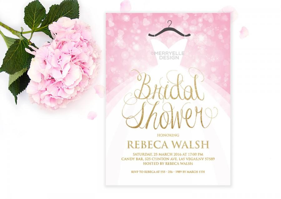 Wedding Dress Bridal Shower Invitation Pink And Gold Bokeh Sparkling Printable Merryelle Design