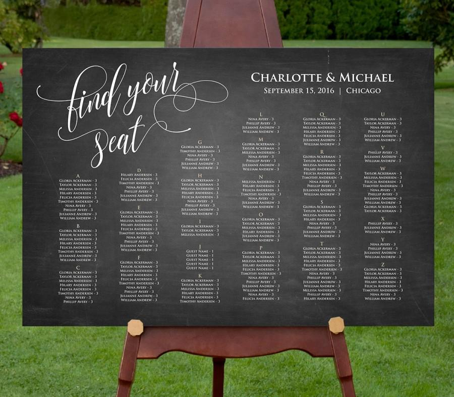 Printable Seating Chart Template, INSTANT DOWNLOAD, Editable PDF, DiY  Rustic Wedding Seating Poster / Sign, Chalkboard Seating, Digital