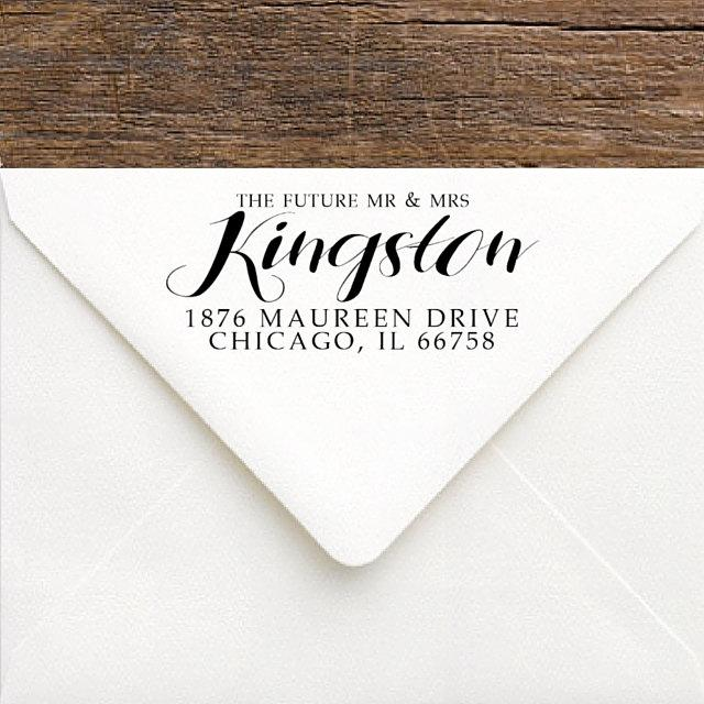 How To Address Wedding Gift Envelope : ... Gift - Personalized Wedding Stamp - Custom Rubber RSVP Address Stamp