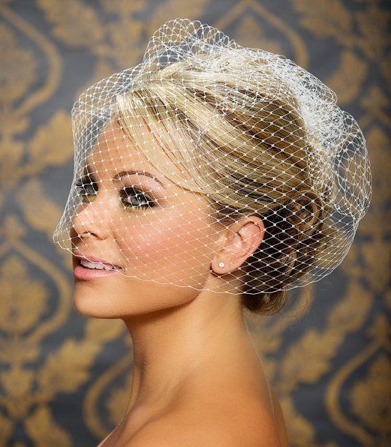 "Mariage - Birdcage Veil, Blusher Veil, Bird Cage Veil, Wedding Veil, Blusher Veil, Large Full Bridal Veil Netting - 12"" Or 18"" In White, Ivory"