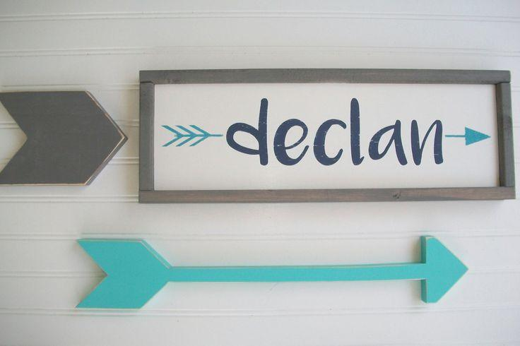 Name Sign Tribal Nursery Decor Custom Baby Woodland Arrow Rustic