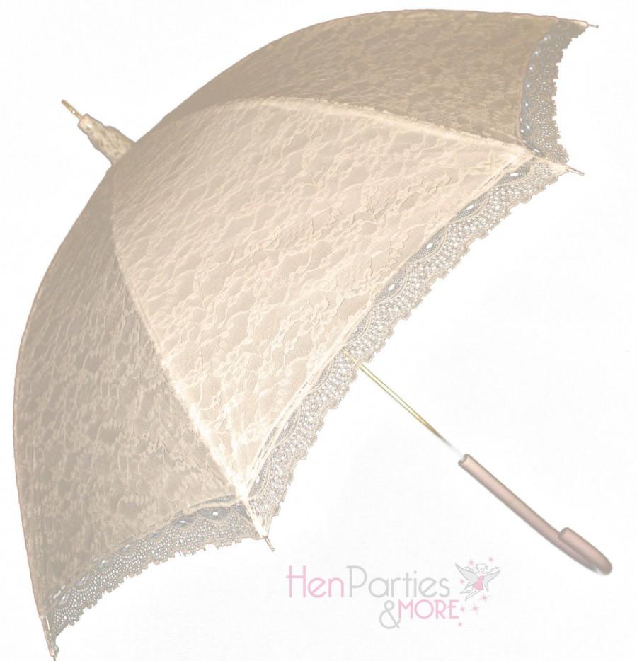 Mariage - Victorian ivory, black or white lace umbrella/parasol for  bridal weddings or race days
