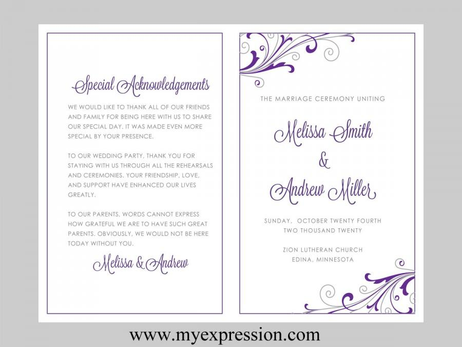wedding program template swirl and flourish purple silver instant download editable ms. Black Bedroom Furniture Sets. Home Design Ideas