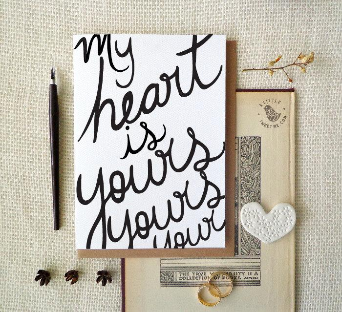 Hochzeit - Love Card. My heart is yours. Hand drawn Typography greeting. Wedding cards.  LC338