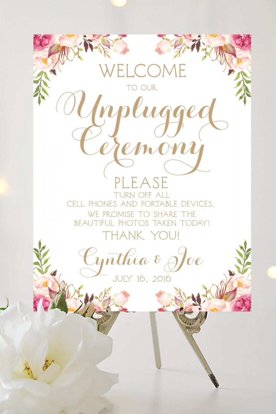 Welcome to our unplugged ceremony sign various sizes welcome to our unplugged ceremony sign various sizes personalized vintage style antique gold script i create and you print pronofoot35fo Gallery
