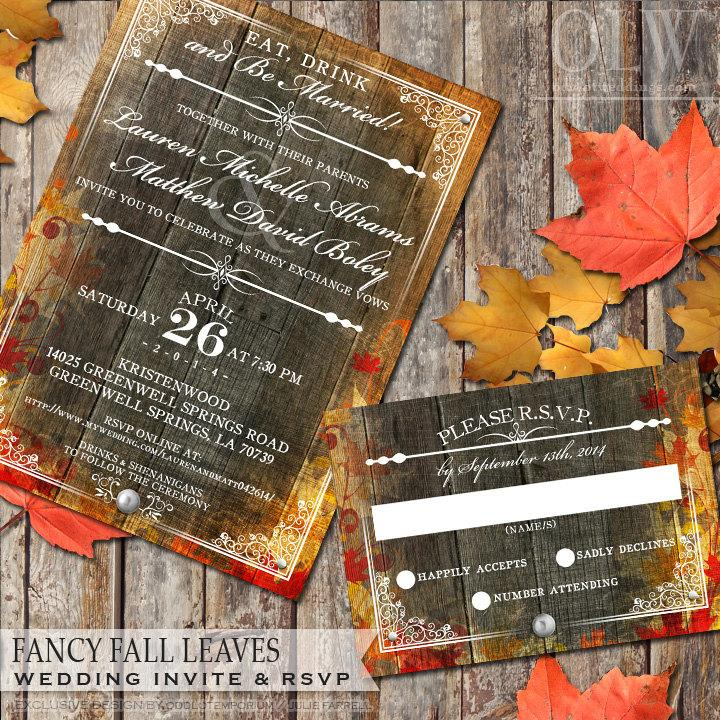autumn fall leaves wedding invitation and rsvp stationery wedding