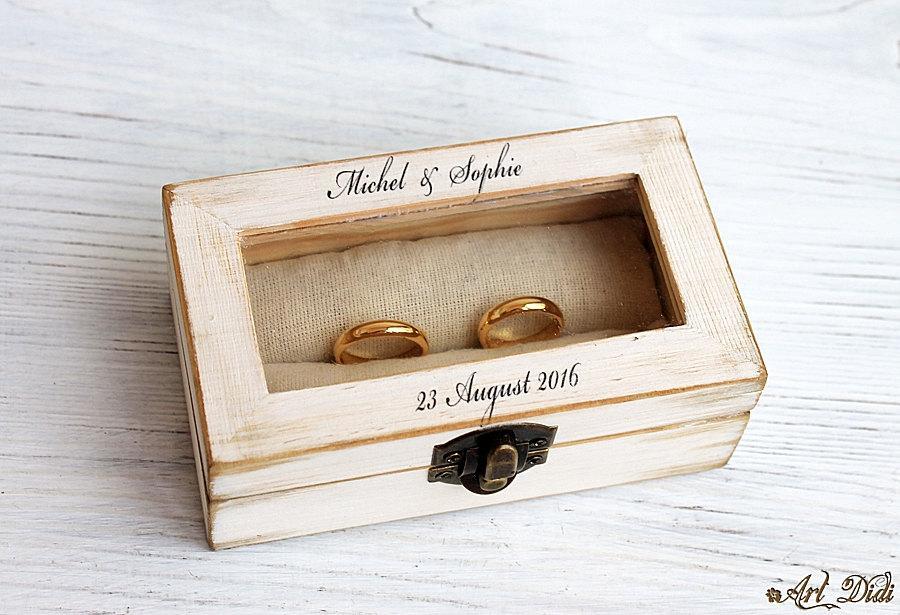 Mariage - wedding ring box, decoupage box, ring bearer box, jewelry box, decoupage, wooden jewelry box, ring box, custom ring holder, personalized box