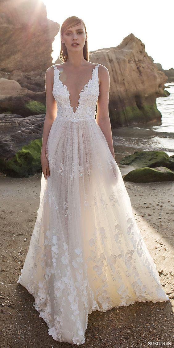 32 sexy deep plunging v neck wedding dresses 2557277 for Plunge neck wedding dress