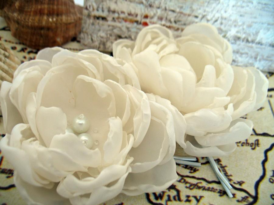 Ivory fabric flowers bridal hair clips flower hair pins for ivory fabric flowers bridal hair clips flower hair pins for wedding fabric flower flower for hair bridal hair accessories mightylinksfo