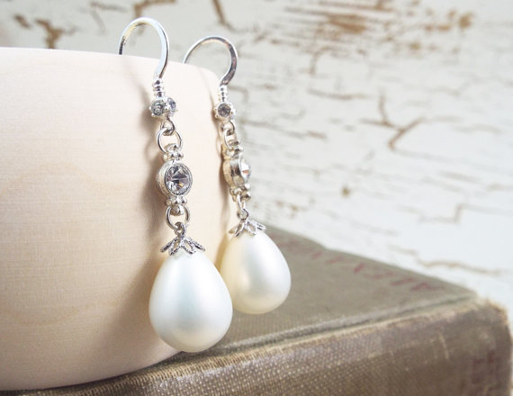 Hochzeit - White Wedding Crystal Teardrop Pearl Earrings - June - Weddings by Split Personality Design