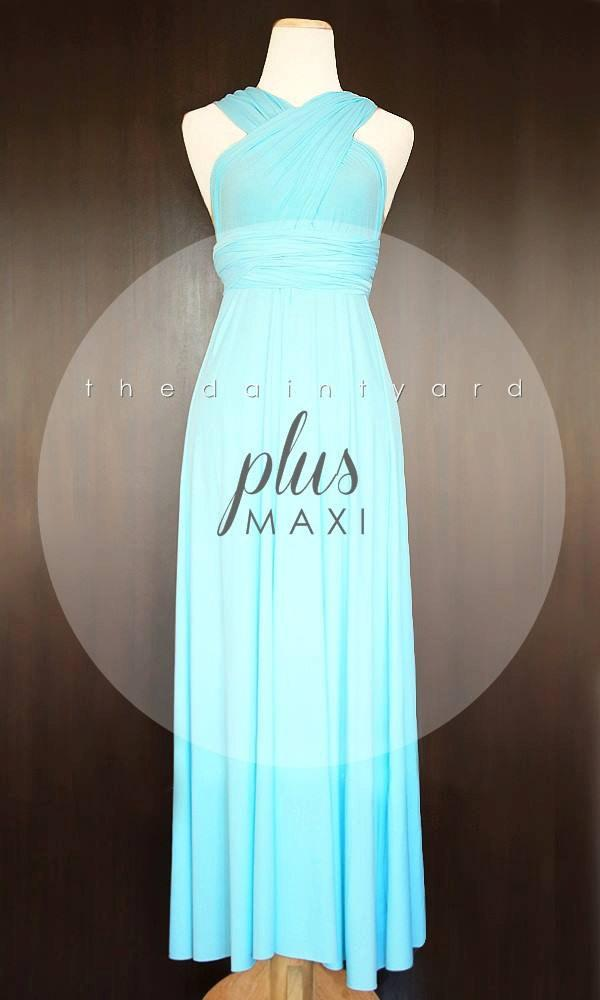 Wedding - MAXI Plus Size Sky Blue Bridesmaid Dress Convertible Dress Infinity Dress Multiway Dress Wrap Dress Wedding Dress Cocktail Dress Prom Dress