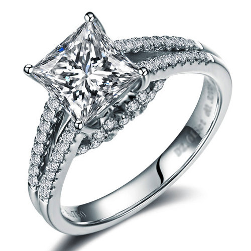 Свадьба - Princess Cut Forever Brilliant Moissanite Engagement Ring and Diamonds 14k White Gold or 14k Yellow Gold Diamond Ring