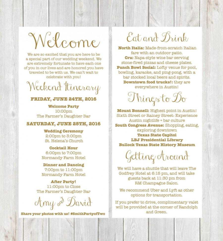 Welcome Letter Weekend Itinerary Wedding Gold Destination Hotel Bag Printable