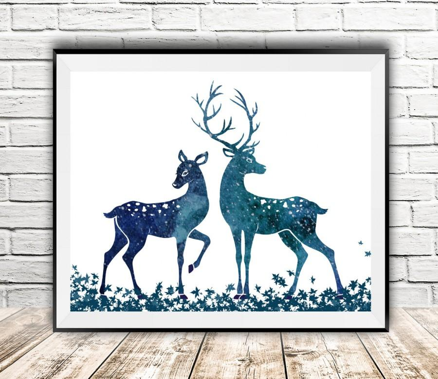 Deer Print Watercolor Animals Modern Wall Decor Nursery Art Printable Poster Instantart1