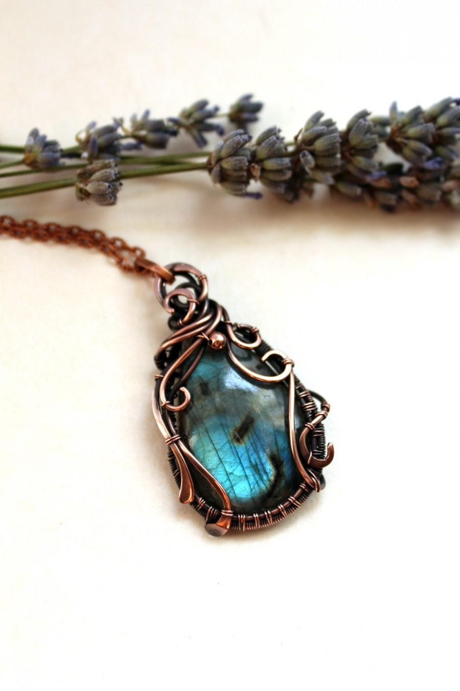 labradorite pendant birthday gift for her wire wrapped