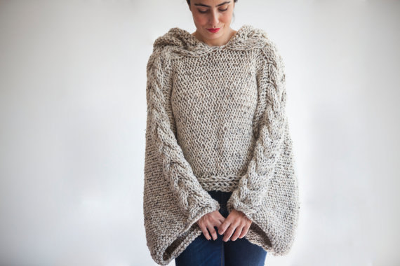 Tweed Beige Angel Sweater Capalet With Hoodie Over Size Plus Size