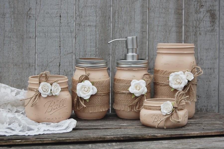 Mason Jar Bathroom Set Earth Tones Neutral Brown Shabby Chic Soap Dispenser Jars 5 Piece Rustic Distressed Metal Pump