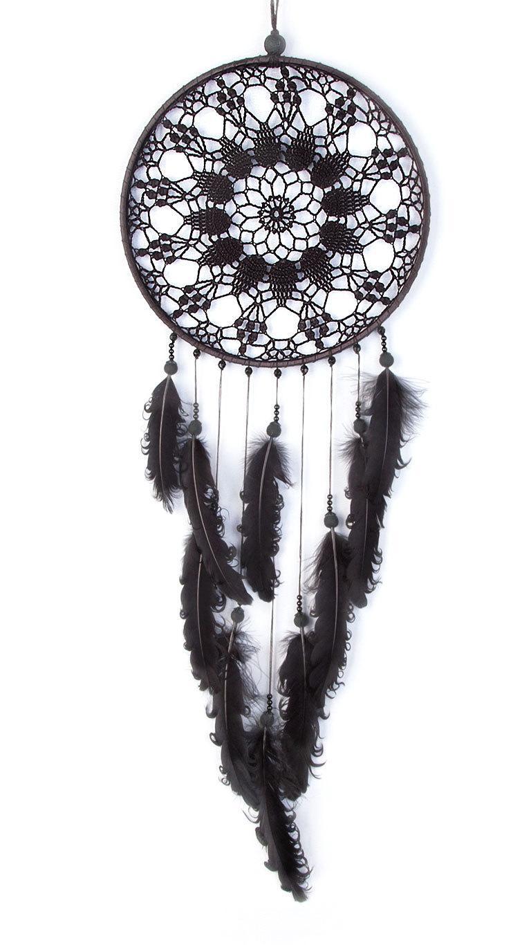 Black Dream Catcher Crochet Doily Dreamcatcher large