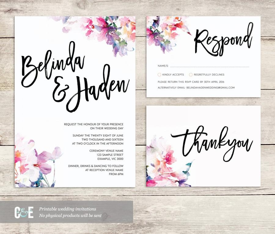 Watercolor Wedding Invite Multicolor Wedding Invitations