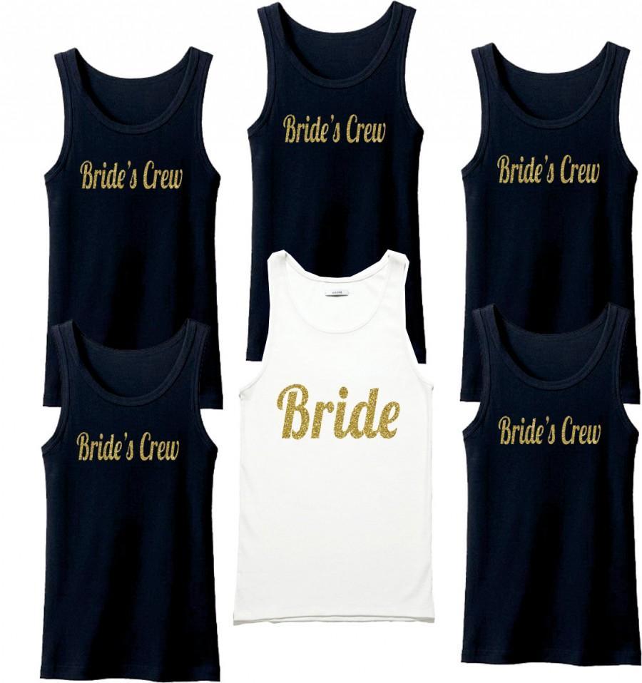 Свадьба - Set of 10 Bridesmaid Robes, Bridesmaid Gifts, Bridal Robe, Set or Sets, Order bridesmaid shirt gold, Photoshoot,Shirts,6Bridesmaid tanks set