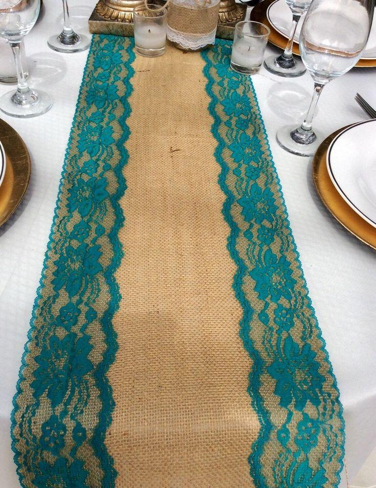 Burlap table runner with teal jade lace 5ft 10ft x 10 for 10 foot table runner