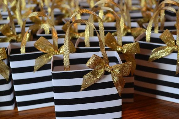 Black And White Stripe Party Favor Bag With Gold Bow And Handles