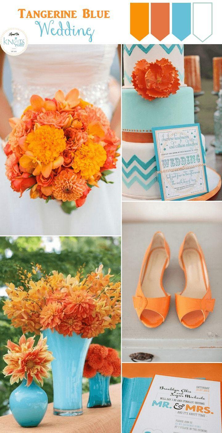 Свадьба - Tangerine Blue Wedding Inspiration