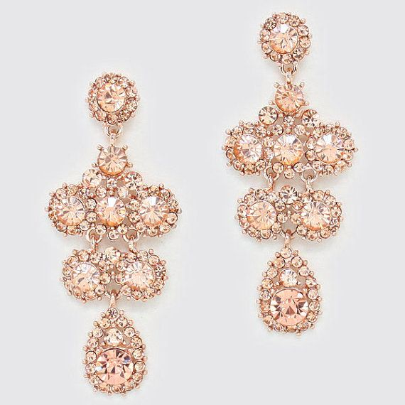 Crystal Chandelier Bridal Earrings - Rose Gold Peach Champagne ...