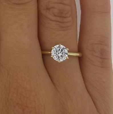 Mariage - 1.25 Ct Vs2/h Round Cut Diamond Engagement Ring 14k Yellow Gold Enhanced